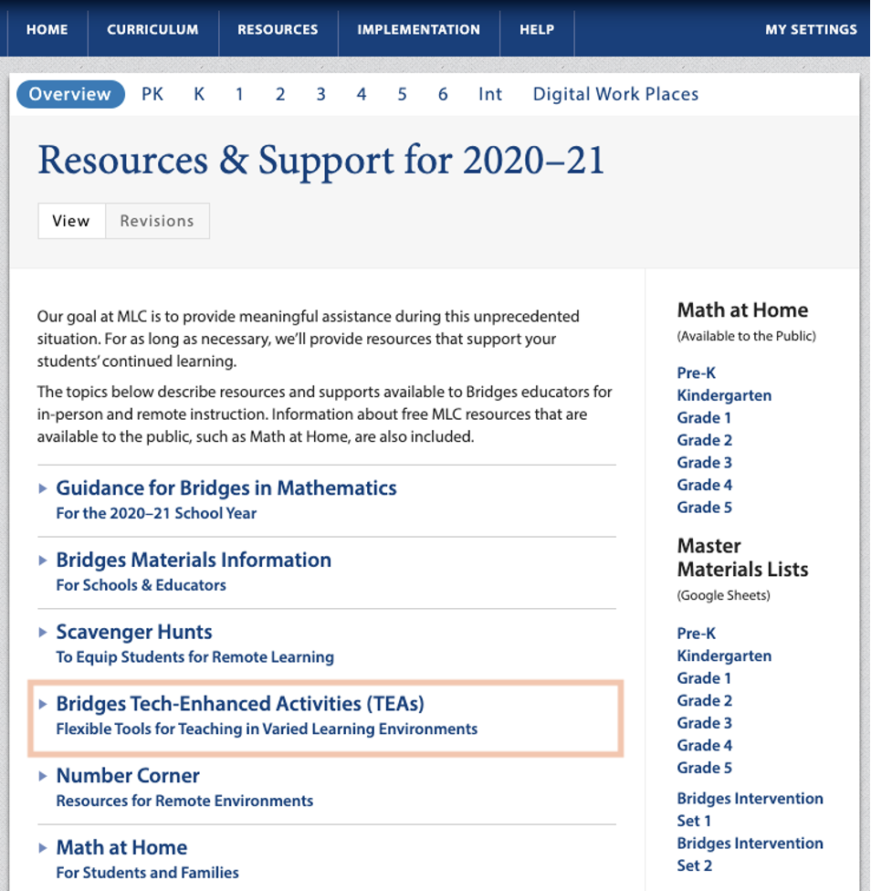 screenshot of resources & support page with a box around tech-enhanced activities