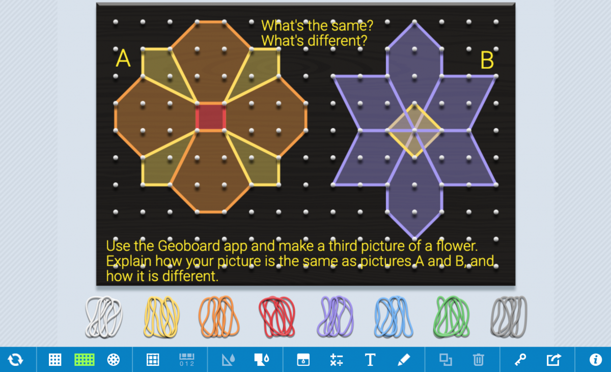 geoboard app with spring-themed prompt