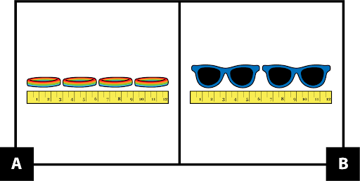 A: a ruler measuring 4 bracelets. B: a ruler measuring two pairs of sunglasses.