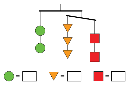 a hanging mobile with two green circles hanging, three orange triangles hanging and two red squares hanging.