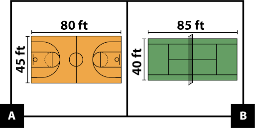 A: image of a basketball court. B: image of a tennis court.