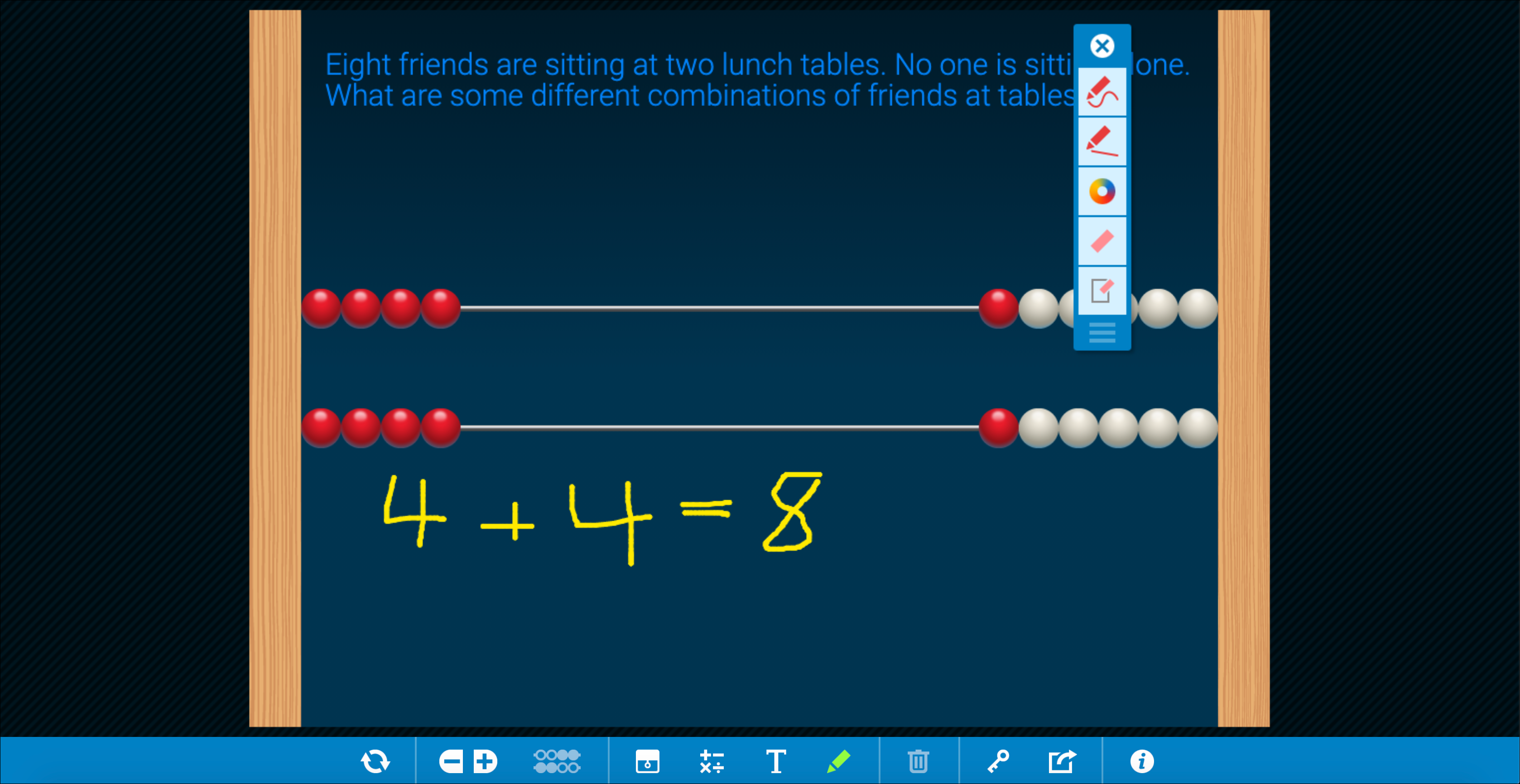 The Number Rack app solving the Lunchtime app activity